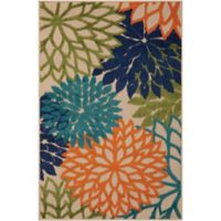 Nourison Aloha Floral Burst 2-Foot 8-Inch x 4-Foot Indoor/Outdoor Multicolor Accent Rug