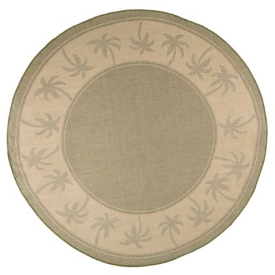 nottingham home palm tree 8foot round area rug in green
