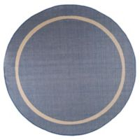 Nottingham Home Contemporary 8-Foot Round Indoor/Outdoor Area Rug in Blue/Cream