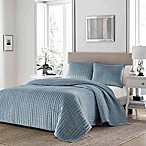 Stone Cottage Micromink Pickstitch Full/Queen Quilt Set in Dusty Blue