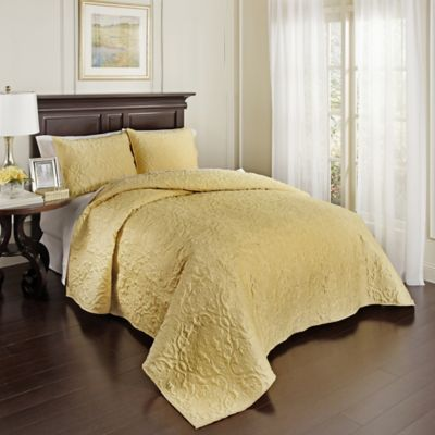 beautyrest valentre queen coverlet set in light gold