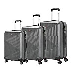 Brio PET Ridged 3-Piece Luggage Set in Black