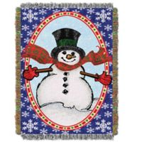 Holiday Bright Happy Snowman Woven Tapestry Throw Blanket