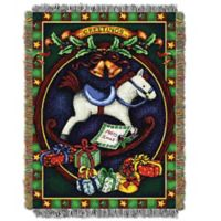 Holiday Hobby Horse Woven Tapestry Throw Blanket