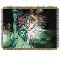 Lady Liberty Holiday Woven Tapestry Throw Blanket