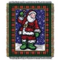 Plaid Santa Holiday Woven Tapestry Throw Blanket