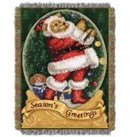 Snowglobe Teddy Holiday Woven Tapestry Throw Blanket