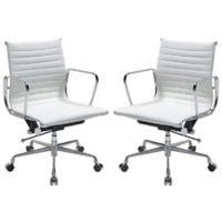 Manhattan Comfort Ellwood Mid-Back Adjustable Office Chair in White (Set of 2)