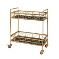 Abbyson Living Kanda 2-Tier Bar Cart in Gold