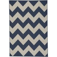 Capel Rugs Elsinore-Chevron Woven 3-Foot 11-Inch x 5-Foot 6-Inch Area Rug in Midnight Blue