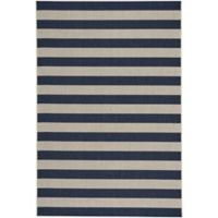 Capel Rugs Elsinore-Stripe 3-Foot 11-Inch x 5-Foot 6-Inch Outdoor Area Rug in Midnight Blue
