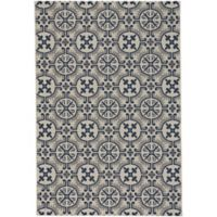 Capel Rugs Elsinore-Tile 5-Foot 3-Inch x 7-Foot 6-Inch Indoor/Outdoor Area Rug in Midnight Blue