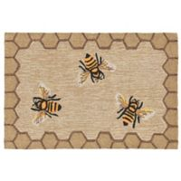 Liora Manne Honeycomb Bee Indoor/Outdoor 1-Foot 8-Inch x 2-Foot 6-Inch Accent Rug in Natural