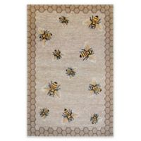 Liora Manne Honeycomb Bee Indoor/Outdoor 3-Foot 6-Inch x 5-Foot 6-Inch Area Rug in Natural