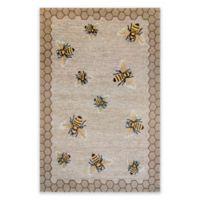 Liora Manne Honeycomb Bee Indoor/Outdoor 5-Foot x 7-Foot 6-Inch Area Rug in Natural