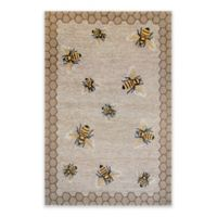 Liora Manne Honeycomb Bee Indoor/Outdoor 7-Foot 6-Inch x 9-Foot 6-Inch Area Rug in Natural