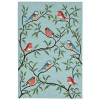 Liora Manne Birds On Branches 7-Foot 6-Inch x 9-Foot 6-Inch Indoor/Outdoor Area Rug in Aqua