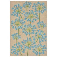 Liora Manne Desert Lily Indoor/Outdoor 3-Foot 6-Inch x 5-Foot 6-Inch Area Rug in Bluebell