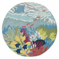 Liora Manne Ocean View 8-Foot Indoor/Outdoor Round Area Rug in Blue