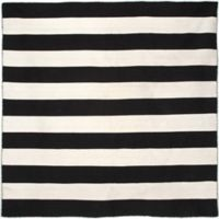Liora Manne Rugby Stripe 8-Foot Square Indoor/Outdoor Area Rug in Black