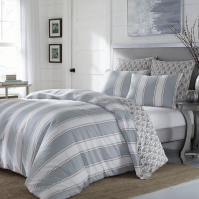 stone cottage calista stripe reversible fullqueen duvet set in blue