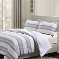 Hudson Queen Duvet Cover Set in Grey/White
