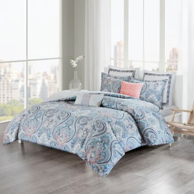 EchoTM Avalon Full Queen Duvet Cover Set In Blue Coral
