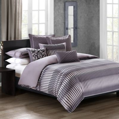 n natori abstract stripe queen duvet cover set in purple