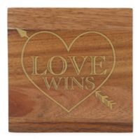 "Thirstystone® Acacia Gold ""Love Wins"" Single Round Coaster"