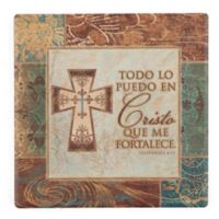 Thirstystone® Dolomite Cristo Que Me Fortalece Single Square Coaster