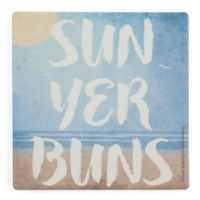 Thirstystone® Dolomite Sun Yer Buns Square Single Coaster