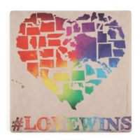 Thirstystone® Love Wins Map Square Single Coaster