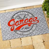 His Garage Rules 18-Inch x 27-Inch Door Mat