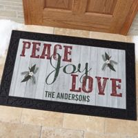 Peace, Joy, Love 20-Inch x 35-Inch Door Mat