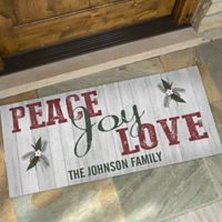 Peace, Joy, Love 24-Inch x 48-Inch Door Mat