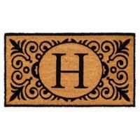 """16-Inch x 24-Inch Monogram """"H"""" Coir Door Mat Insert"""