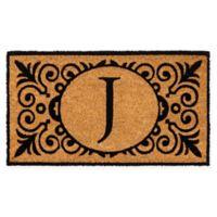 """16-Inch x 24-Inch Monogram """"J"""" Coir Door Mat Insert"""