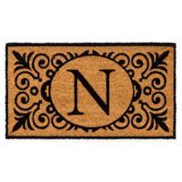 """16-Inch x 24-Inch Monogram """"N"""" Coir Door Mat Insert"""