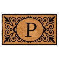 """16-Inch x 24-Inch Monogram """"P"""" Coir Door Mat Insert"""