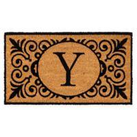 """16-Inch x 24-Inch Monogram """"Y"""" Coir Door Mat Insert"""