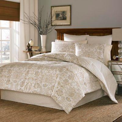 stone cottage belvedere reversible queen comforter set in creamgold