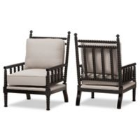 Baxton Studio Hillary Wood Spindle Chairs in Black (Set of 2)