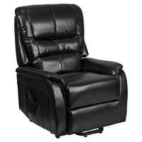 Flash Furniture Faux Leather Remote-Powered Lift Recliner in Black