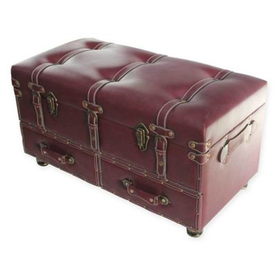 river of goods faux leather storage trunk in burgundy - Storage Chest Trunk