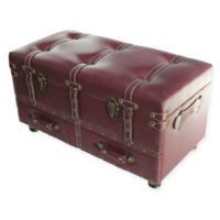 River of Goods Faux Leather Storage Trunk in Burgundy
