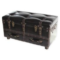 River of Goods Faux Leather Storage Trunk in Brown