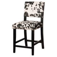 Linon Home Clayton Cow Print Counter Stool in Black