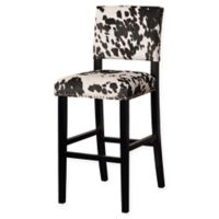 Linon Home Clayton Cow Print Bar Stool in Black