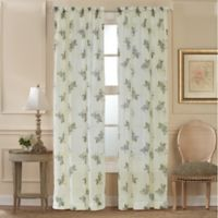 Water Lily Scroll 84-Inch Rod Pocket Window Curtain Panel in Blue