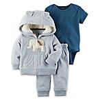 carter's® Size 18M 3-Piece Elephant Fleece Little Jacket Set in Blue